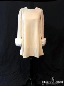 Delphine Manivet - Robe courte trapèze en crêpe de laine ivoire foncé (manches)