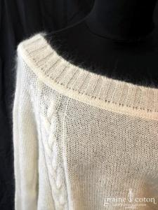 Delphine Manivet - Pull long en angora et laine ivoire