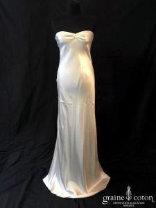 Delphine Manivet - Robe en satin de soie ivoire (fluide bustier)