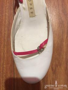 Pura Lopez - Escarpins (chaussures) en cuir blanc et fuchsia