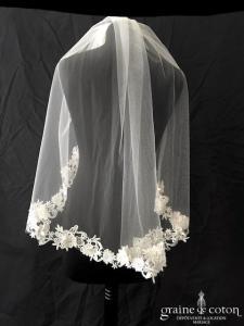 Sunny Mariages - Voile en tulle ivoire bordé de guipure sans rabat avant