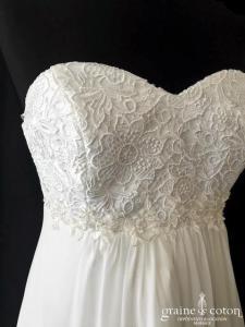Bianco Evento - Lidia robe de grossesse (bustier empire femme enceinte dentelle guipure fluide mousseline coeur)