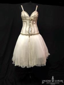 Alexander Mc Queen - Robe courte en soie ivoire (bretelles)