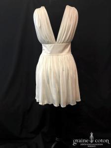 Delphine Manivet - Robe courte en jersey de soie ivoire fluide (bretelles décolleté-V)