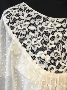 Delphine Manivet - Robe courte ou tunique en tulle plumetis champagne et dentelle façon vintage (manches fluide)