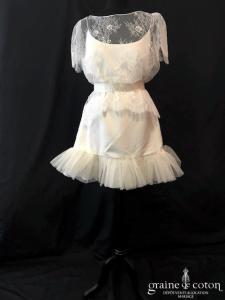 Delphine Manivet - Sous robe Lilian (crêpe de soie tulle bretelles courte)