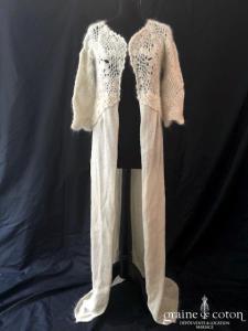 Delphine Manivet - Gilet manteau en laine et angora ivoire