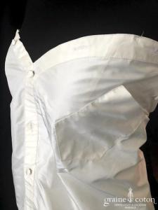 Delphine Manivet - Robe chemise en taffetas de soie ivoire (bustier courte)