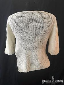 Delphine Manivet - Pull en maille de coton ivoire (manches)