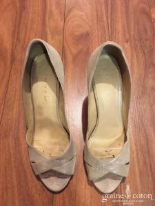 Jonak - Escarpins (chaussures) ivoires en cuir doré et caramel