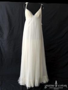 Delphine Manivet - Robe en tulle plissé empire décolleté triangle (dos-nu bretelles fluide bohème)