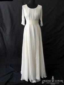 Delphine Manivet - Robe en mousseline de soie blanche (manches fluide)
