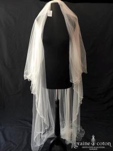 Bianco Evento - Voile double long de 220 cm en soft tulle ivoire surjeté avec strass Swarovski (S221 avec rabat)