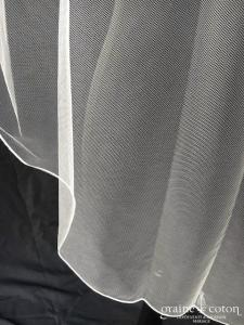 Bianco Evento - Voile simple court en soft tulle ivoire surjeté (S187 sans rabat)