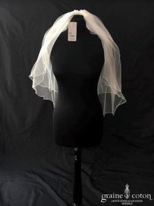Bianco Evento - Voile double court en soft tulle ivoire surjeté (S26 avec rabat)