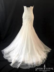 White One - Jocelyn (bustier coeur sirène dentelle fluide tulle plumetis bateau manches)