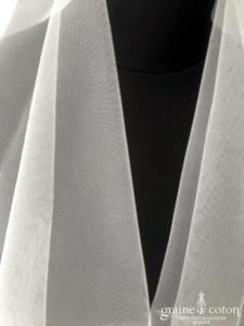 Marie Laporte - Voile court en tulle ivoire clair bords brut