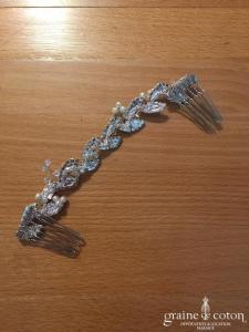 Création - Peigne double tressé argenté et perlé