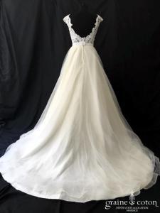 Cosmobella - Robe princesse en tulle et dentelle ivoire (taille haute bretelles dos-nu dos boutonné)