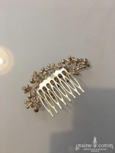 Peigne à cheveux doré fleurs avec strass