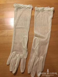 Gants en tulle de soie fluide bordé de fines perles ivoires