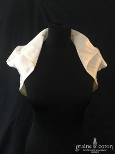 Galvan Sposa - Boléro en mikado de soie ivoire clair avec petites manches et col