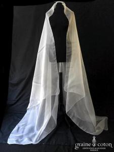 Voile long carré de 1m80 en organza de soie