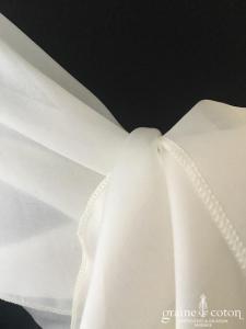 Galvan Sposa - Étole biseautée en triple organza de soie ivoire