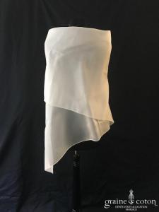 Galvan Sposa - Étole carrée en double organza de soie ivoire