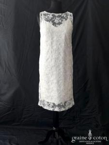 Robe courte en satin et broderie ivoire (bretelles droite)