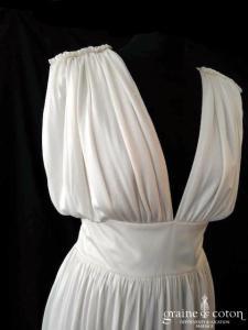 Delphine Manivet - Robe longue en jersey de soie ivoire fluide (bretelles décolleté-V bohème)