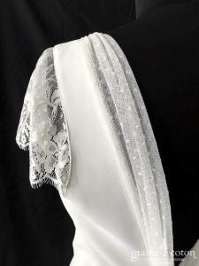 Harpe Paris - Robe courte en crêpe et dentelle ivoire (bretelles manches dos-nu tulle plumetis fluide)