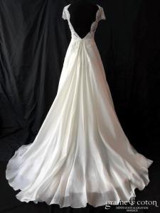 Alelier Pronovias - Rivera (dentelle organza de soie dos-nu bretelles princesse fluide taille-haute dos boutonné décolleté-V)