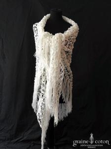 Création maison - Étole / cape  / châle en laine blanche