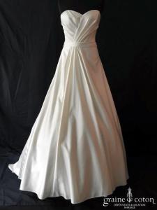 Nana Couture - Robe bustier en satin et boléro dentelle (manches bretelles coeur bateau dos boutonné princesse taille-haute)