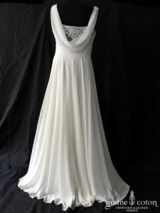 Couture Nuptiale - Plume (mousseline fluide bretelles bénitier dos-nu dentelle bohème taille-haute)