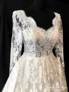 Rosa Clara Couture - Pastora (manches longues dentelle taille-haute princesse bretelles dos boutonné decollete-V dos-nu)