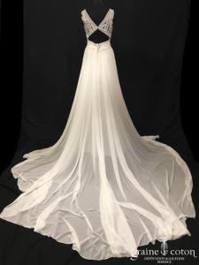 Pronovias - Dramia (bohème mousseline fluide guipure dentelle bretelles dos-nu taille-haute decollete-V dos boutonné)