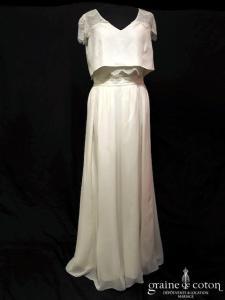 Elise Hameau - Joni (jupe et top crêpe de soie fluide bohème guipure dentelle mousseline de soie manches bretelles)