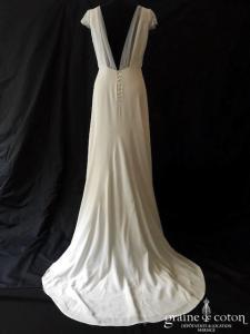 Harpe - Eve (fluide crêpe bohème manches taille-haute droite bretelles dos-nu dos boutonné tulle plumetis)