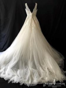 Atelier Pronovias - Isena (bretelles taille-haute princesse dentelle tulle fluide perles dos-nu decollete-V)