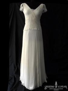 Elsa Gary - Création en mousseline de soie et dentelle (fluide bohème bretelles taille-basse dos-nu decollete-v)