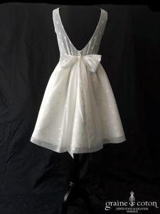 Marie Laporte collection Intemporelle - Nina (courte bretelles voile de coton pois dos-nu boule dos boutonné bateau)
