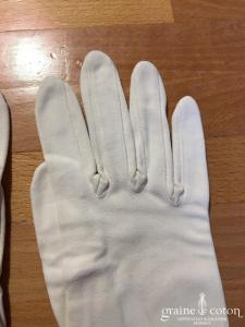 Poujade - Gants mi longs en coton ivoire