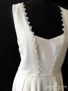 Lorafolk - Paulette (bohème bretelles dos-nu fluide crêpe de soie dentelle guipure coton taille-haute courte mi-longue dos boutonné)