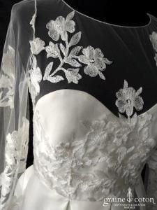 Rime Arodaky - Waverley (courte coeur dentelle manches longues bretelles organza soie taille-haute dos-nu)