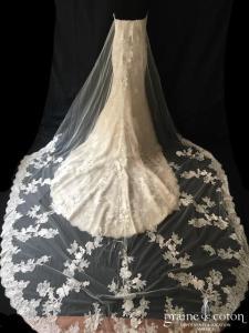 Pronovias - Dria (sirène dos boutonnée dentelle fluide manches bretelles champagne bustier)