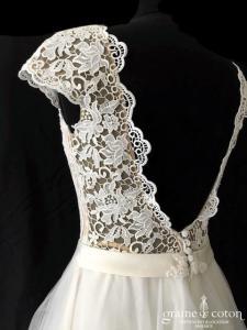 Création Helen Dolly - Princesse (tulle taille-haute dentelle guipure bretelles dos-nu fluide dos boutonné bohème)