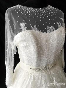 Pronovias - Dauco (princesse coeur taille-haute tulle dentelle fluide manches bustier bretelles dos boutonné)