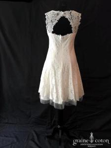 Linea Raffaëlli - Robe courte en dentelle ivoire (bretelles dos-nu)